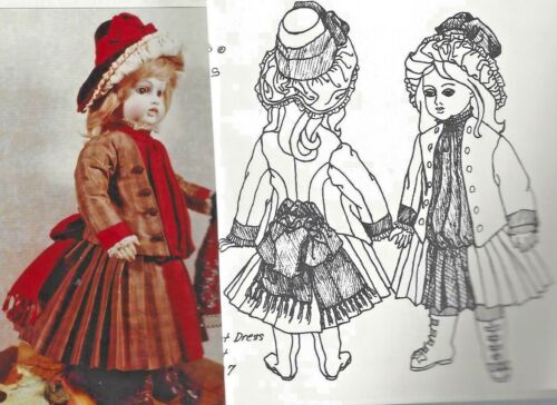 "19-20""ANTIQUE FRENCH BRU DOLL@1883-87 BUSTLE BOW JACKET-DRESS HAT PATTERN GERMAN"