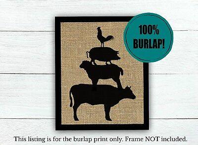 Stacked Farm Animals 100% BURLAP Farmhouse Decor UNFRAMED Rustic Kitchen PRINT](Farm Decorations)