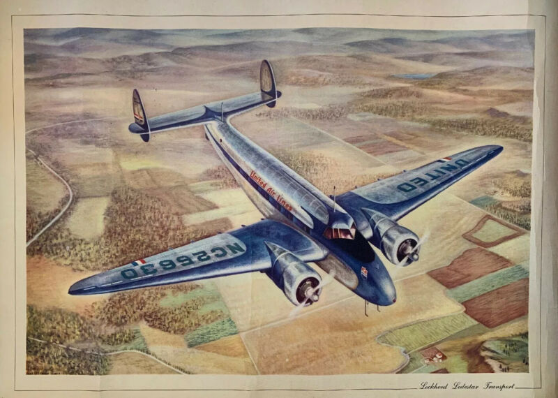 Vintage Lockheed Lodestar Transport Military Aircraft Litho Art Print 22x17
