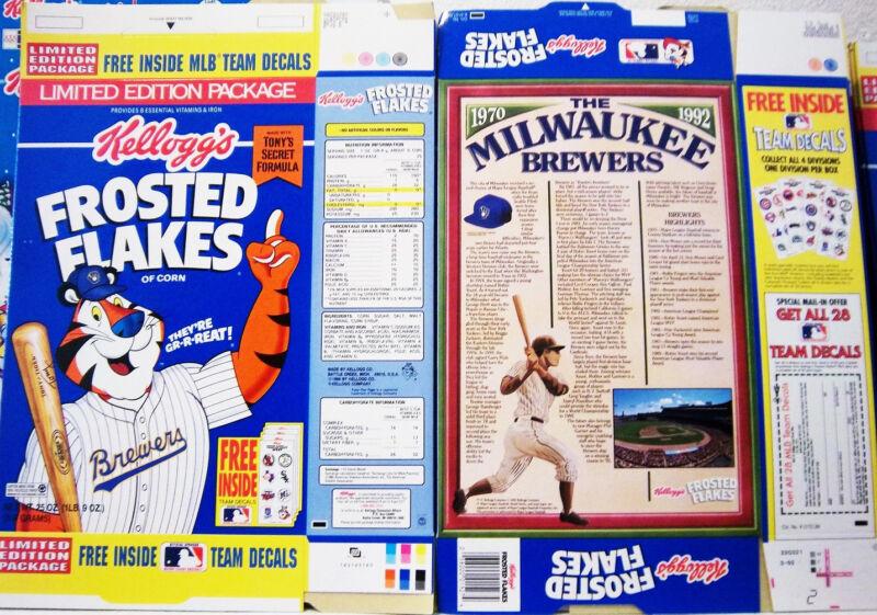 1992 Frosted Flakers Milwaukee Brewers Cereal Box  unused factory Flat shm247