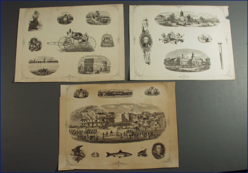 3 VINTAGE BANK NOTE SCRIPOPHILY ENGRAVING SHEETS, FIRE FIGHTING, ETC.