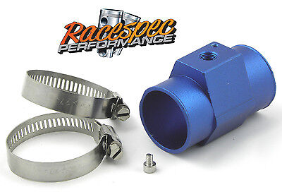 38MM O/D RADIATOR COOLANT HOSE ADAPTER FOR FITTING WATER TEMP GAUGE SENSOR BLUE