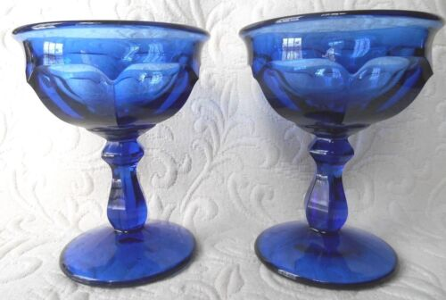 Imperial Glass Ohio Old Williamsburg Pattern Deep Blue Champagne Glass Set of 2