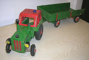 Alter DDR HOWA Holzspielzeug Traktor Schlepper IFA Pionier mit Anhänger - 50er J