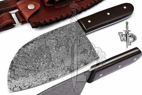 Custom Handmade Damascus Professional Kitchen Chopper/Cleaver Knife-1-Piece W/S