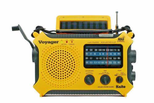 Katio KA500 AM FM Shortwave Solar Crank Emergency Weather Alert Radio Yellow