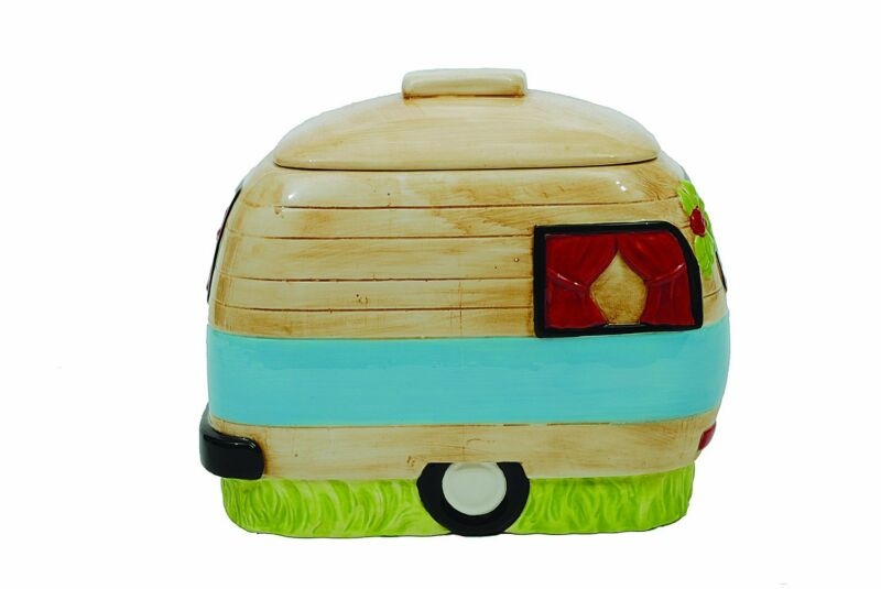 Camper Van retro Ceramic COOKIE JAR vintage-style design New Happy Camper