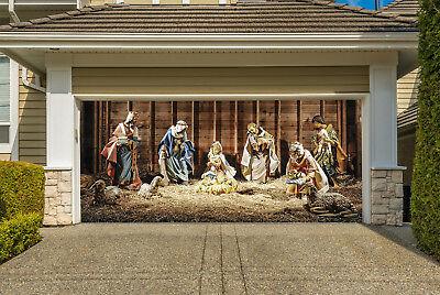 Nativity Scene Garage Door Banner, Christmas Mural for Double Garage Door GD217 (Garage Door Scenes)