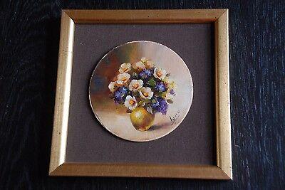 peinture à l'huile  - petit bouquet sur support rond cadre carré doré