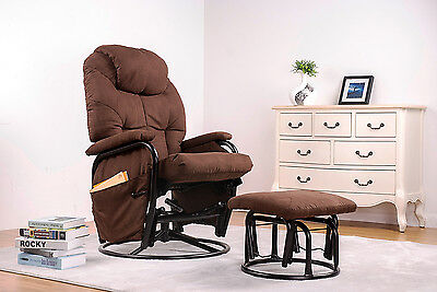 Merax Suede Fabric Swivel Glider Recliner Rocking Chair
