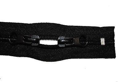 Reißverschluss für Rucksäcke, Zelte, schwarz 60 cm lang, 5mm Spirale 2 Schieber ()