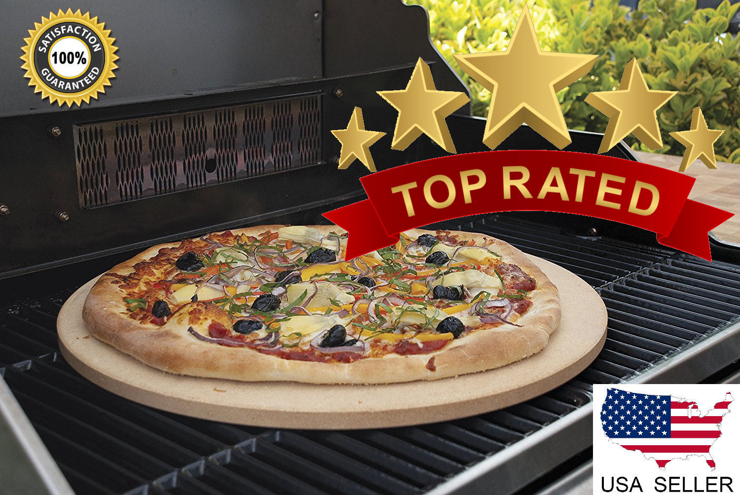 """16"""" XL Pizza & Baking Stone, 3/4"""" Extra Thick! For Oven/Gril"""