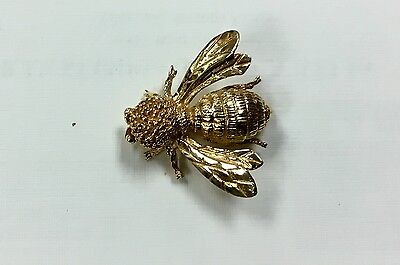 """{Bjstamps} Estate jewelry solid14K Gold pin Honey Bee 1.2"""" Insect Bug  6.8 grams"""