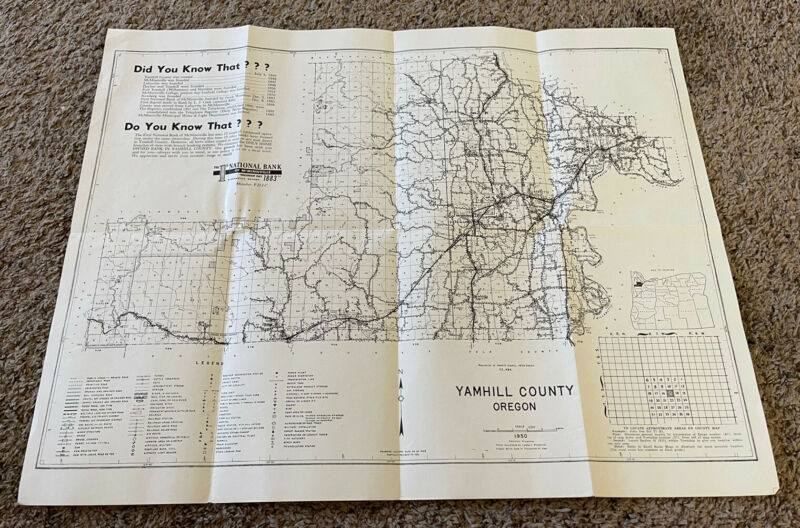 1950 Yamhill County Oregon Farm Map, 1st National Bank of McMinnville
