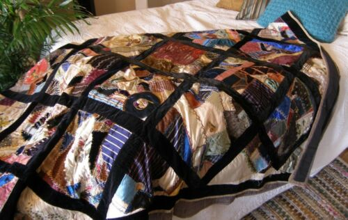 "Antique Crazy Quilt, Stunning Embroidery on Silk and Velvet ~89"" x 68"""