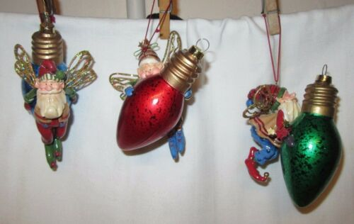 3 Christmas Ornaments - Santa Claus Pixie/Elves with Wings on Light Bulbs