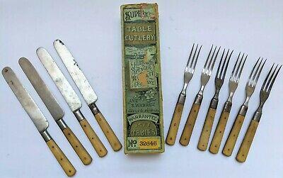 Rare Old Vtg Antique Hibbard Spencer Bartlett Bone Cutlery Knife Fork Flatware