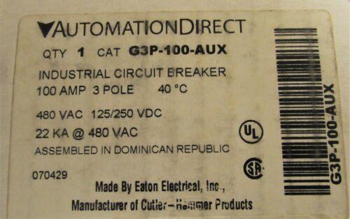 AUTOMATION DIRECT G3P 100 AUX 3 Pole 100 AMP G3P 22K Circuit Breaker