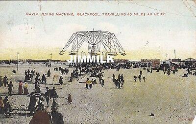 Old Postcard,Maxim Flying Machine, Blackpool Old Flying Machine