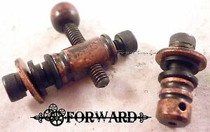 Blackened Copper Groove Binding Post Set Front,  Rear, Screws, Shoulder Washers