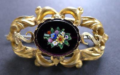 Vintage Micro Mosaic Brooch Onyx Pin Antique Victorian Italian Mid 1800's Italy