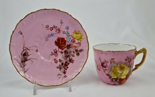 Antique Royal Worcester Demitasse Cup & Saucer, Roses