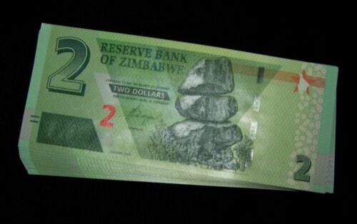 100 x ZIMBABWE 2 DOLLARS 2019 HYBRID P NEW UNC BANKNOTE/CURRENCY BUNDLE