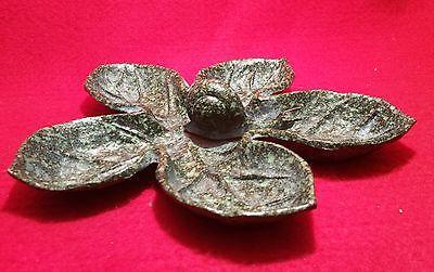1960s SNAIL DISH vtg japanese cast iron tropical leaf plate outdoor sculpture Snail Dish