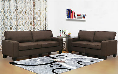 Living In Style Jordan Linen 2 Piece Modern Living Room Sofa and Loveseat Set
