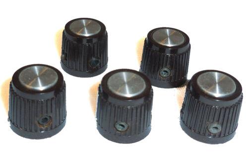 "5 Textured Knobs 5/8"" H x 3/4"" 1/4"" Shaft Set Screws, Aluminum Cap, Steel Insert"