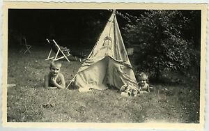 PHOTO ANCIENNE - ENFANT JARDIN CAMPING TIPI JOUET SIESTE ...