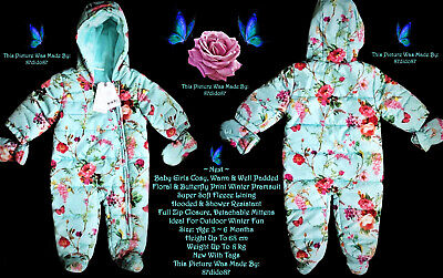 🦋 Next Girl Fleece Lined Warm Cosy Body Pram Suit Mittens Aquamarine Pink Green