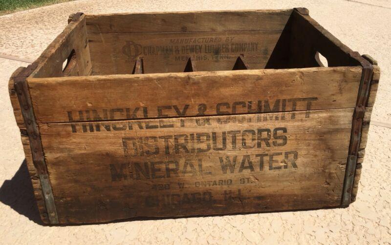 Vintage Hinckley & Schmitt Mineral Water Wooden Crate Historic Chicago Antique