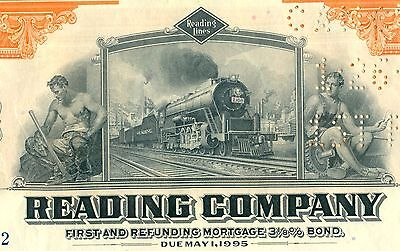 1945 Reading Company Bond Stock Certificate Railroad Monopoly