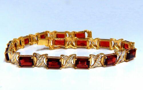 16.15ct Natural Garnets Diamond X Tennis Bracelet 14kt