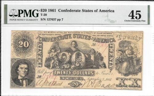 T20 PF-5 1861 $20 Confederate States of America CSA SN 127637 PMG 45