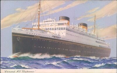 Postcard Shipping Ocean liners Cunard M.V Britannic  unposted