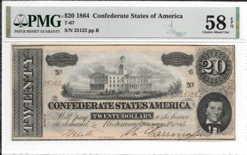 T67 PF-7 1864 $20 Confederate States of America CSA S/N 25122 PMG 58 EPQ