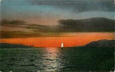 DB Postcard CA H005 Sunset on Golden Gate San Francisco Sailing Ship Mitchell