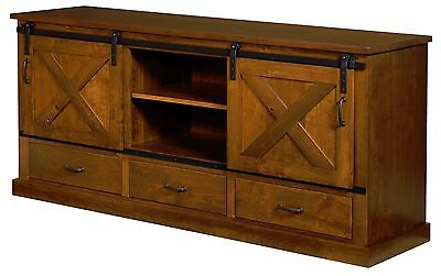 Amish Console - Amish Rustic TV Console Cabinet Solid Rustic Cherry Wood 72