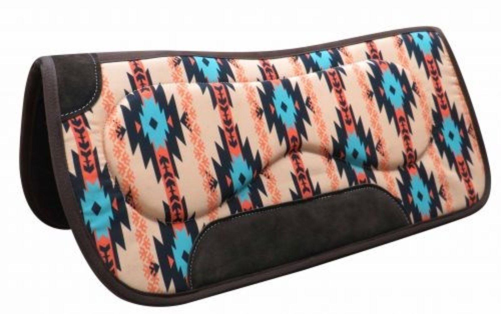 "Showman 32/""x32/"" GRAY Navajo Saddle Pad w// Felt Bottom /& Suede Wear Leathers NEW"