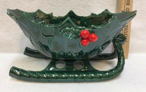 "Planter Christmas Sleigh Green w/ Holly Berry Ceramic Lefton China Vintage 8"""