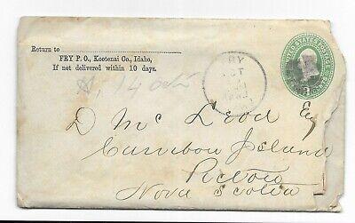 1892 Kootenai Co. Idaho to Pictou Nova Scotia 2c Green USA Cover