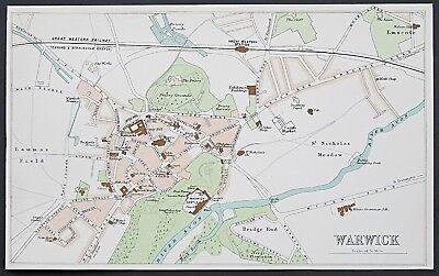 c1898 Warwick Antique Map Street Plan Bartholomew