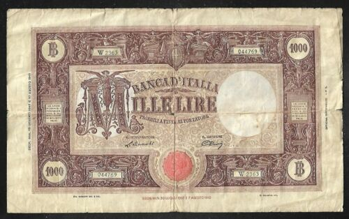 ITALY - Old 1000 Lire Note - 1947 - P72c - VG