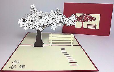 Sakura Bench Pop Up Card  Cherry Blossom Spring Birthday Thank You Get Well Card