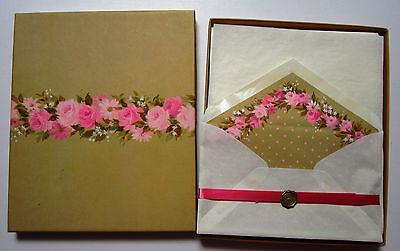 Vintage Stationary Box Set Hallmark Dotted Swiss Pink Roses on Envelopes