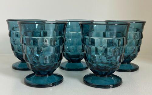 Vintage Indiana Cubist Whitehall | Riviera Blue | Footed Juice Glasses | Lot 5