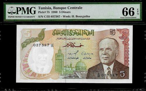 Tunisia 5 Dinars 1980 PMG 66 EPQ UNC  P#75