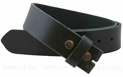 Black Plain Solid Leather Belt NO BUCKLE Removable buckle New Men Women S M L XL